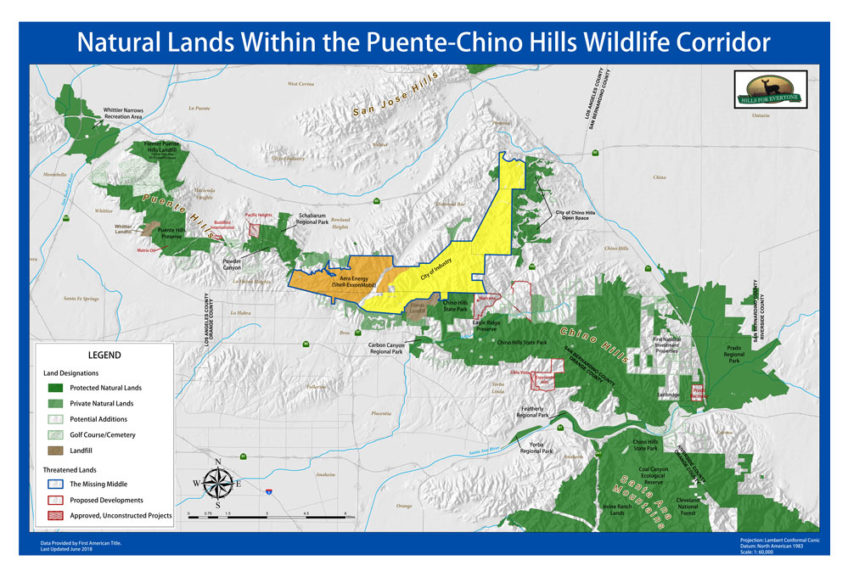 Puente-Chino Hills Wildlife Corridor Map