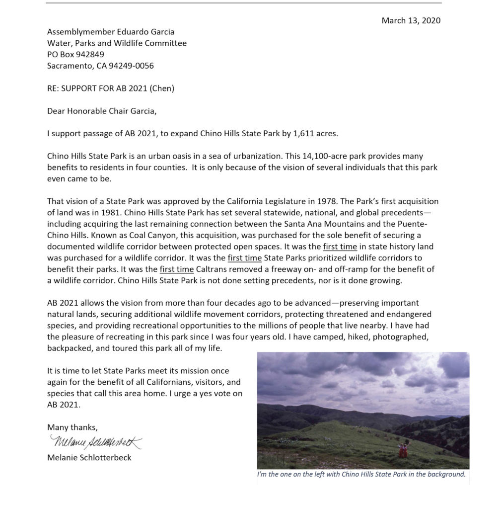 Letter to Assembly Water, Parks, and Wildlife Committee for AB 2021 (the Chino Hills State Park Expansion bill)
