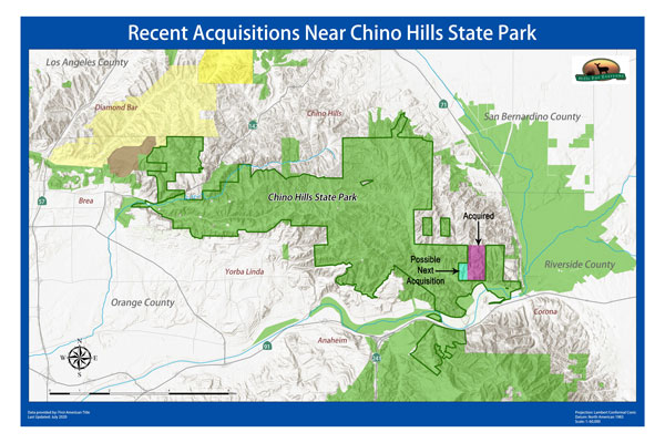 A map showing the 320 acres acquired in July 2020 and 80 acres of a possible future acquisition--both adjacent to Chino Hills State Park.