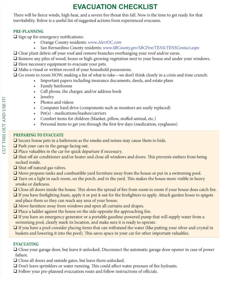 A checklist that discusses pre-planning, preparing to evacuate, and actually evacuating.