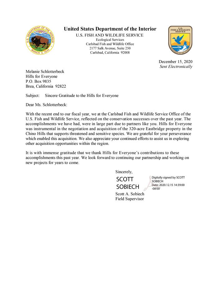 A letter dated December 15, 2020 from the US Department of the Interior thanking Hills For Everyone for its work on the 320 acre acquisition near Chino Hills State Park.