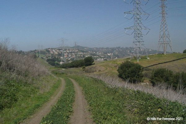 A trail in the center left of the photo with green and grey vegetation on both sides plus powerlines that span the hills and residences in the distance.
