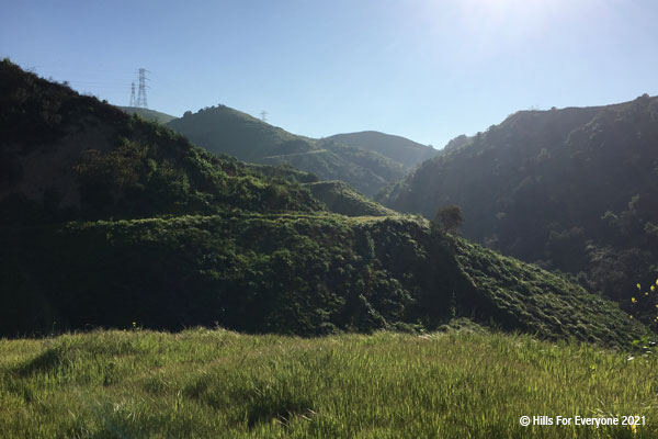 Green grasses in the foreground, with steep lush green hillsides in the middle and background against a blue sky with the sun just about in the frame and several powerlines spanning ridgelines.