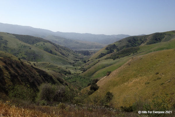 A view of multiple hills meeting with a canyon in the middle and various green and beige plants and trees on the hillsides with taller hills in the background against a light blue sky.