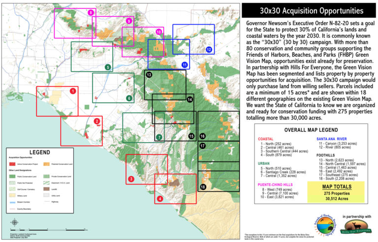 A geographies map of protected public lands and potential conservation acquisitions created by Hills For Everyone in partnership with Friends of Harbors, Beaches and Parks.