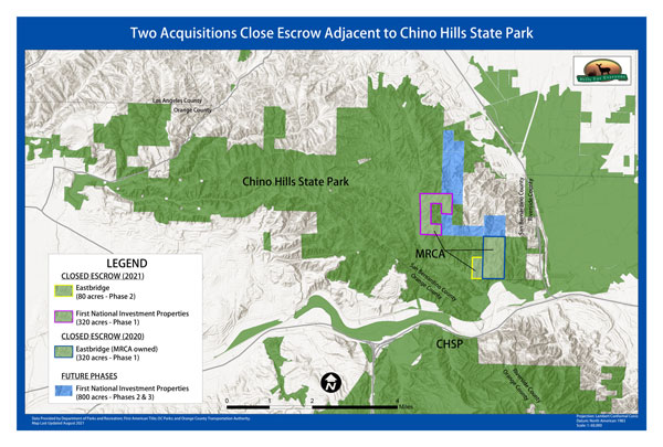 Two acquisitions occurring next to Chino Hills State Park are mapped, with other lands identified for conservation in future transaction phases.