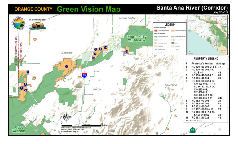 A Santa Ana River map of protected public lands and potential conservation acquisitions created by Hills For Everyone in partnership with Friends of Harbors, Beaches and Parks.