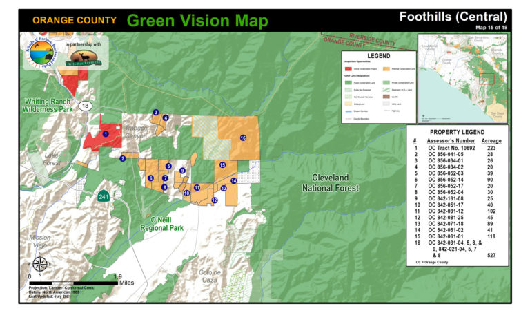 A Foothills map of protected public lands and potential conservation acquisitions created by Hills For Everyone in partnership with Friends of Harbors, Beaches and Parks.