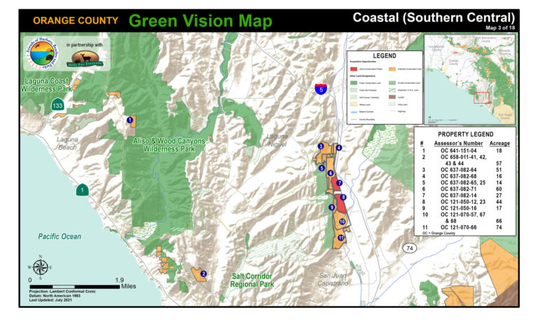 A coastal map of protected public lands and potential conservation acquisitions created by Hills For Everyone in partnership with Friends of Harbors, Beaches and Parks.