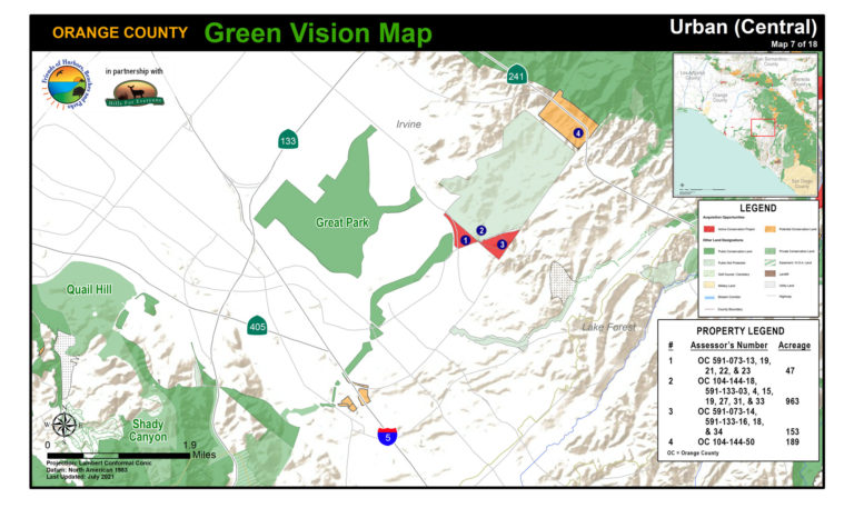 An urban map of protected public lands and potential conservation acquisitions created by Hills For Everyone in partnership with Friends of Harbors, Beaches and Parks.
