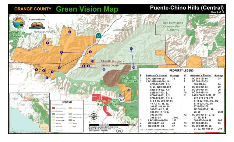 A Puente-Chino Hills map of protected public lands and potential conservation acquisitions created by Hills For Everyone in partnership with Friends of Harbors, Beaches and Parks.