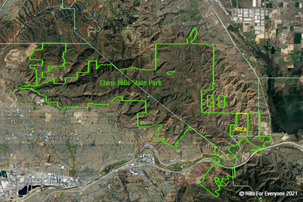 An aerial image of the current boundaries of Chino Hills State Park in green with text indicating the park, plus a yellow line on the eastern side showing recent acquisitions owned by another conservation agency labeled MRCA.