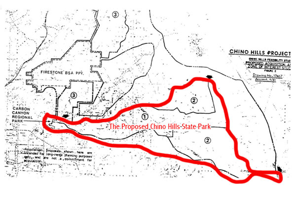 """A splotchy black and white map showing three priority areas with a red outline indicating ridgeline boundaries for what was anticipated to become as the map is labeled """"The Proposed Chino Hills State Park."""""""
